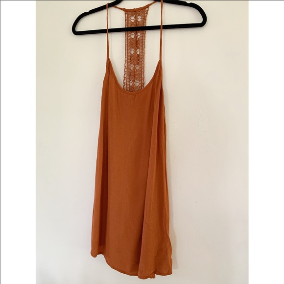 Flowy boho rust and lace racer back tank top